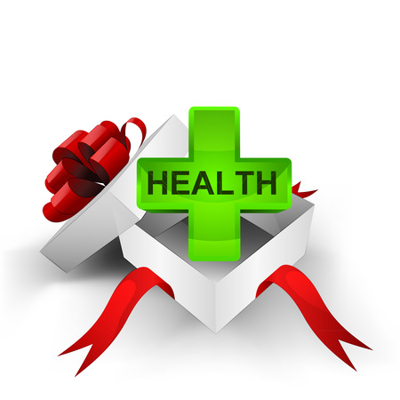heal new year: red ribbon wrapped box with health cross inside vector illustration