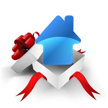 ruban rouge bo�te envelopp�e avec la nouvelle propri�t� de la maison � l'int�rieur de l'illustration vectorielle