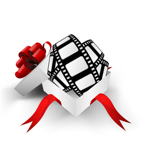 christmas movies: red ribbon wrapped box with movie tape inside vector illustration
