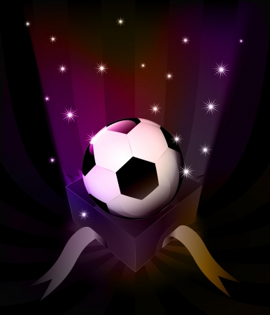 gift revelation with soccer ball at glittering stars vector illustration Vector