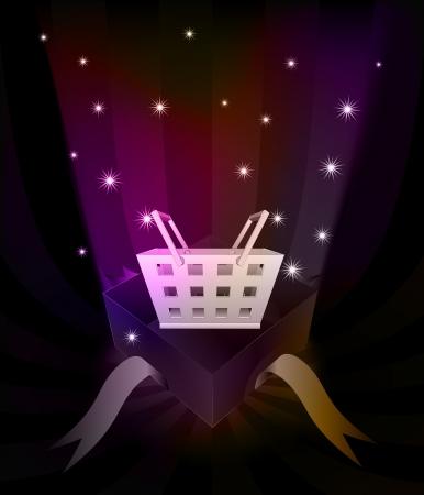 gift basket: gift revelation with shopping basket at glittering stars vector illustration