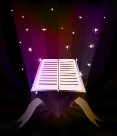 book of revelation: gift revelation with opened book at glittering stars vector illustration