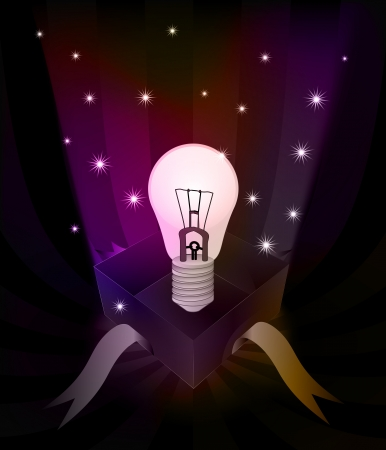 revelation: gift revelation with shiny lightbulb at glittering stars vector illustration