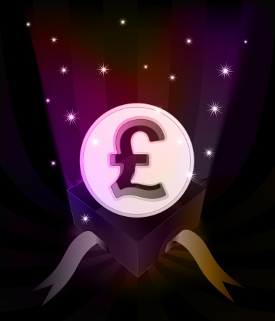 currency glitter: gift revelation with Pound coin at glittering stars vector illustration Illustration