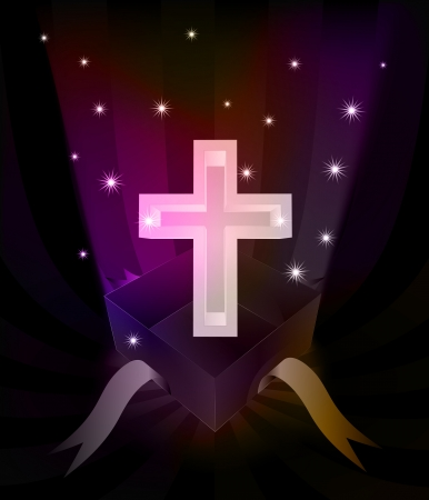 gift revelation with holy cross at glittering stars vector illustration