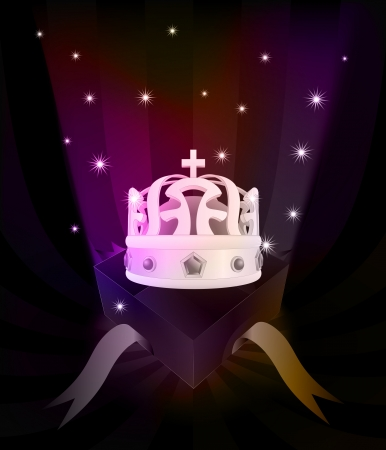 gift revelation with crown at glittering stars vector illustration Vector