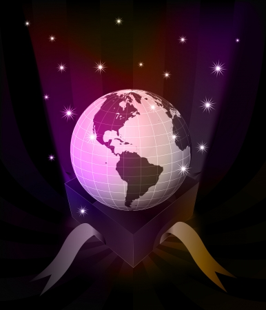 revelation: gift revelation with America globe at glittering stars vector illustration