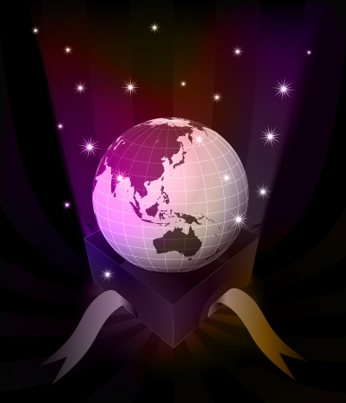 revelation: gift revelation with Asia globe at glittering stars vector illustration