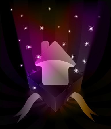 gift revelation with house icon at glittering stars vector illustration Vector