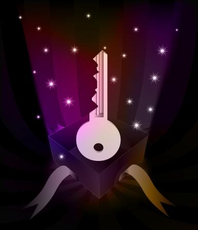 revelation: gift revelation with right key at glittering stars vector illustration Illustration