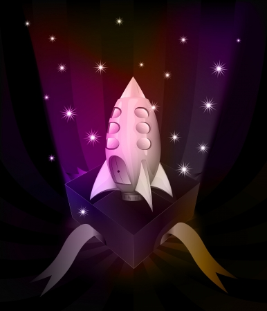 revelation: gift revelation with rocket at glittering stars vector illustration