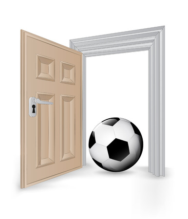 open isolated doorway frame with soccer ball vector illustration Vector
