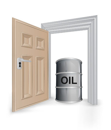open isolated doorway frame with oil barrel vector illustration Vector
