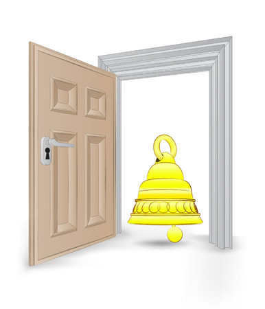 open isolated doorway frame with golden bell vector illustration Vector