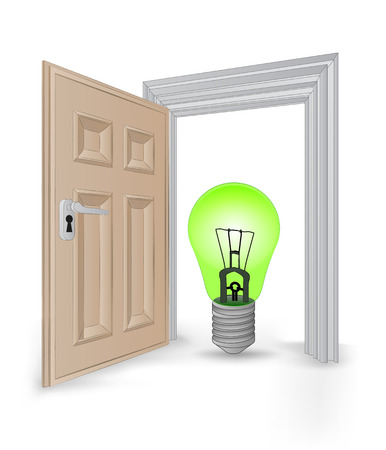 open isolated doorway frame with green ecological bulb vector illustration Vector