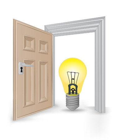open isolated doorway frame with yellow light bulb vector illustration Vector