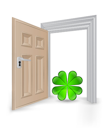 open isolated doorway frame with cloverleaf happiness vector illustration Stock Vector - 24668217