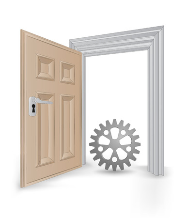 open isolated doorway frame with cogwheel part vector illustration Stock Vector - 24668218