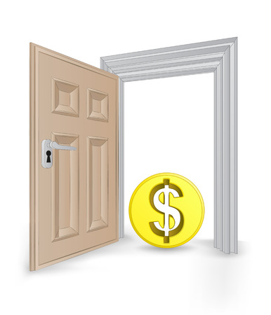 open isolated doorway frame with Dollar coin vector illustration Stock Vector - 24668219