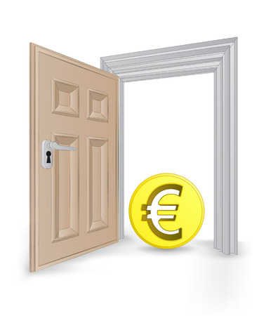 open isolated doorway frame with Euro coin vector illustration Vector