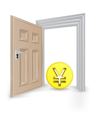 open isolated doorway frame with Yuan coin vector illustration Vector