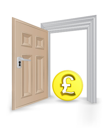 open isolated doorway frame with Pound coin vector illustration Vector