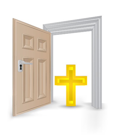 open isolated doorway frame with holy cross vector illustration Vector