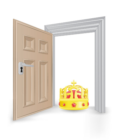 open isolated doorway frame with king crown vector illustration Vector