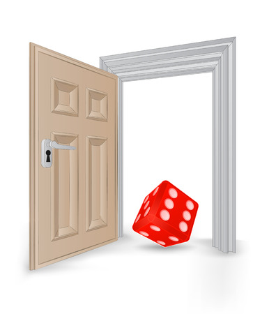 open isolated doorway frame with lucky dice vector illustration Vector