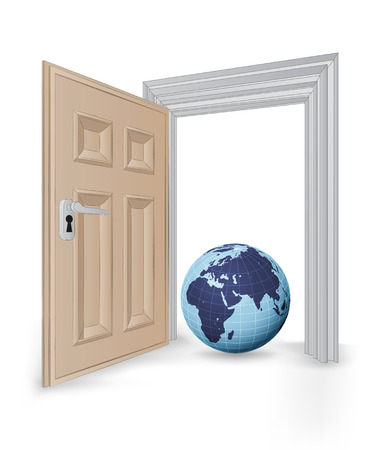 open isolated doorway frame with Africa globe vector illustration Vector
