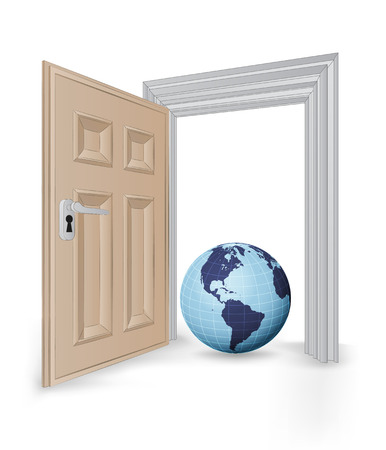open isolated doorway frame with America globe vector illustration Vector
