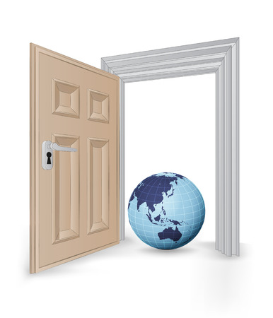 open isolated doorway frame with Asia globe vector illustration Vector
