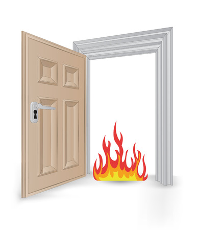 open isolated doorway frame with fire vector illustration Stock Vector - 24668150
