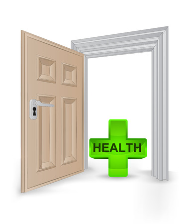 succes: open isolated doorway frame with health cross vector illustration Illustration