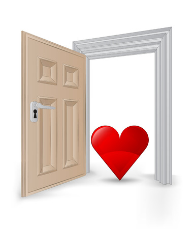 open isolated doorway frame with red heart vector illustration Vector