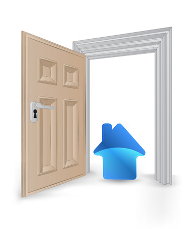 open isolated doorway frame with blue house icon vector illustration Vector