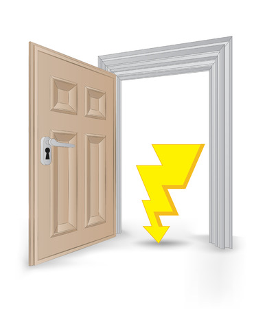 open isolated doorway frame with thunder bolt strike vector illustration Vector