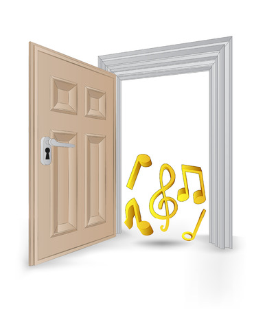 open isolated doorway frame with music sound vector illustration Vector