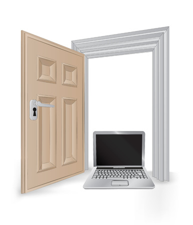 succes: open isolated doorway frame with new laptop vector illustration