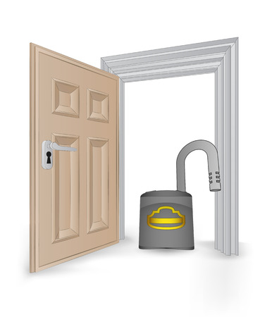 open isolated doorway frame with opened padlock vector illustration Stock Vector - 24668179