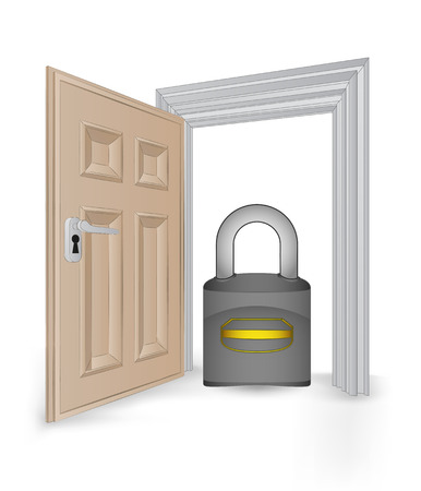 revelation: open isolated doorway frame with security padlock vector illustration Illustration
