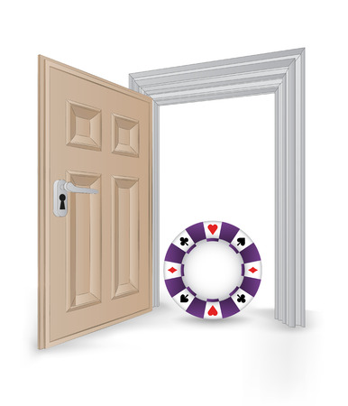 open isolated doorway frame with poker chip vector illustration Vector