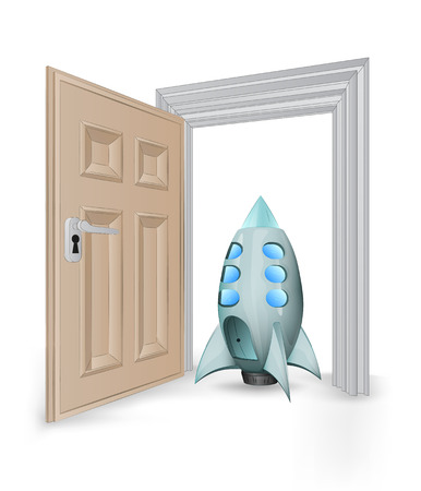 open isolated doorway frame with space ship toy vector illustration Stock Vector - 24668113