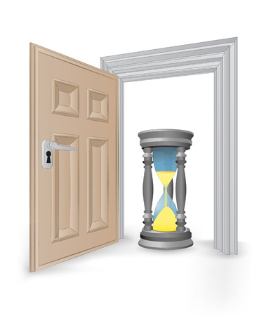 open isolated doorway frame with running hourglass vector illustration Vector