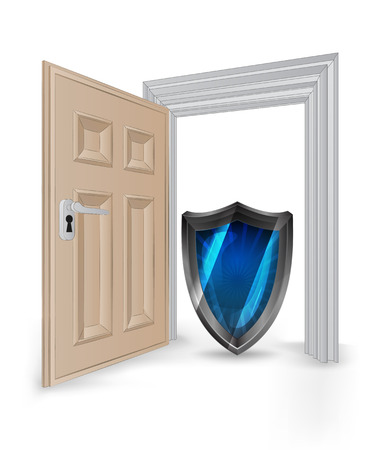 open isolated doorway frame with security shield vector illustration Stock Vector - 24668116