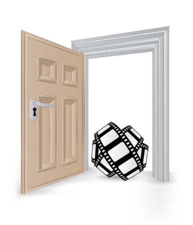open isolated doorway frame with movie tape vector illustration Vector