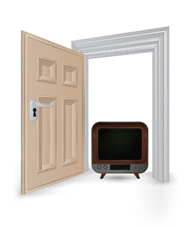 open isolated doorway frame with retro television vector illustration Stock Vector - 24668120