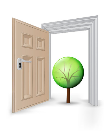 open isolated doorway frame with leafy tree vector illustration Vector