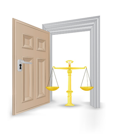 open isolated doorway frame with weight of justice vector illustration Stock Vector - 24668124