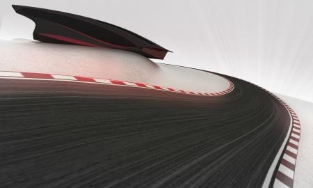 Pista de carreras de velocidad que lleva al aire libre alrededor de la ilustración moderno edificio de fondo de pantalla Foto de archivo - 24668100
